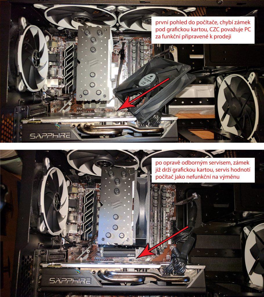 Stav před zásahem a po zásahu odborným servisem. Zámek PCIe slotu bylo nutno zacvaknout zpět pod grafickou kartu!